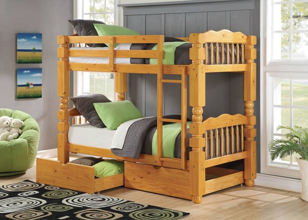 Benji Honey Oak Wood Twin/Twin Bunk Bed W/Storage ACM-02575-79