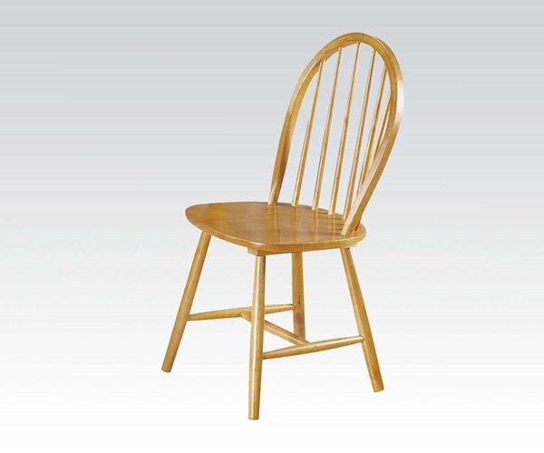 4 Farmhouse Oak Wood Solid Seat Windor Back Side Chairs ACM-02613OAK