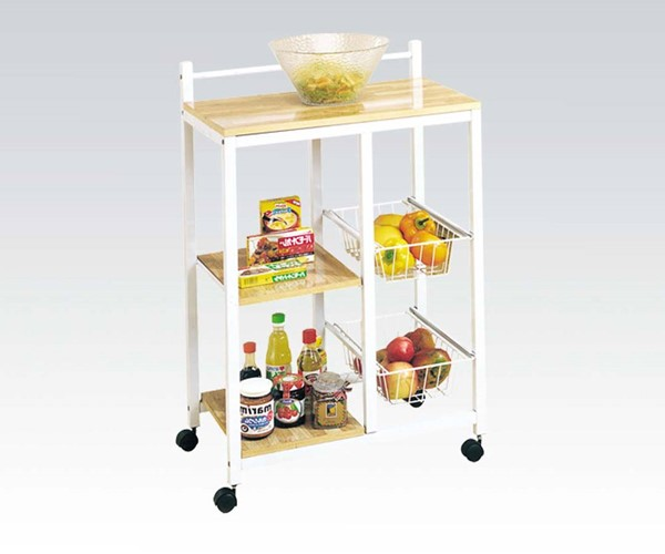 Sitara Standard White Natural Wood Kitchen Cart ACM-02668