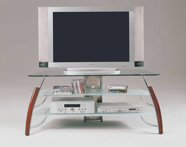 Martini Cherry Wood Chrome Metal Glass TV Stand ACM-02730