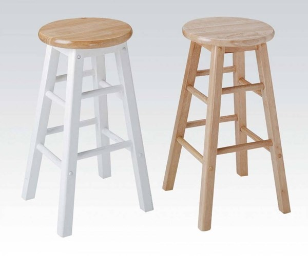 2 Metro Natural White Wood Backless & Footrest Bar Stools ACM-02738