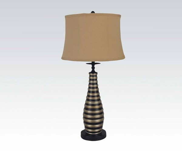 2 Black Brown Poly Lightning Drum Table Lamps ACM-03018