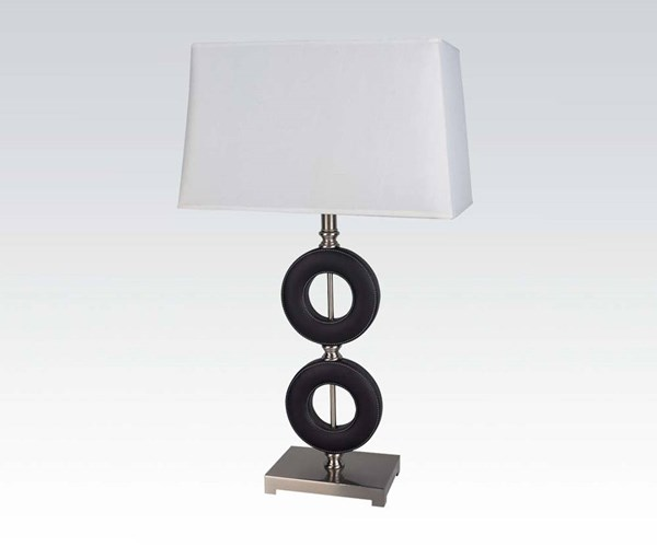 2 Black Metal Faux Leather Table Lamps W/2 Ring Base ACM-03180