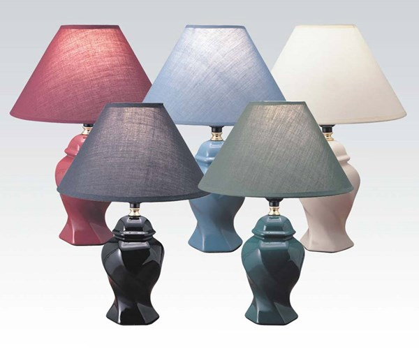8 Ivory Black Blue Ceramic Shade Table Lamps ACM-03328
