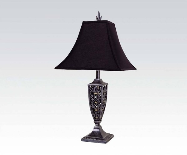 4 Lamp Black Glass Shade & Bell Table Lamps ACM-03624