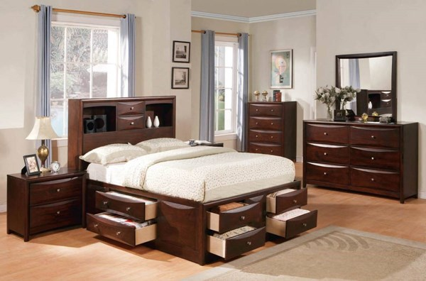 Manhattan Espresso Wood 2pc Master Bedroom Set W King Size Bed ACM-04064S2