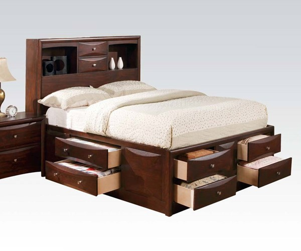 Manhattan Transitional Espresso Wood Full Bed W/Storage ACM-04085F