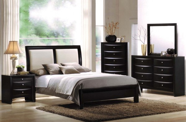 Ireland Contemporary Black White Wood 2pc Bedroom Set W/King Bed ACM-0416-BR-S1