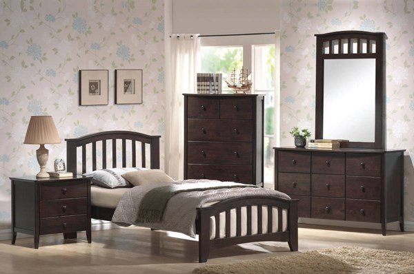 San Marino Dark Walnut Wood 2pc Bedroom Set W/Full Slat Panel Bed ACM-04980S2