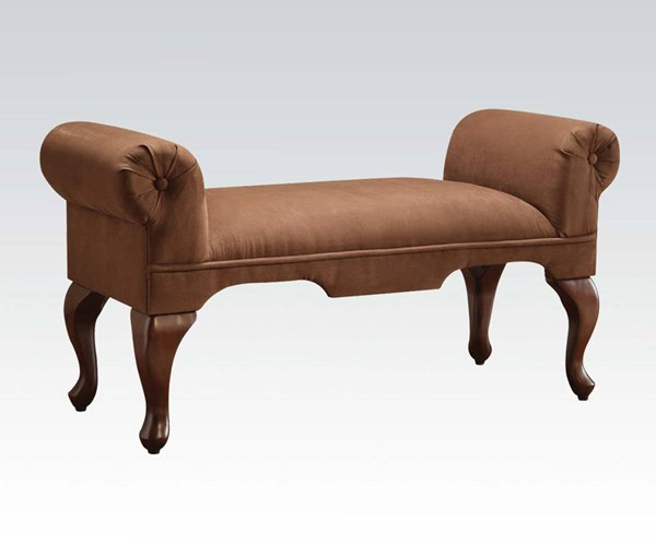 Aston Chocolate Fabric Wood Rolled Arms Bench ACM-05626