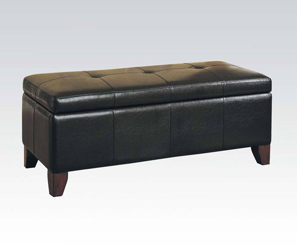 Teton Espresso PU Wood Tufted Bench W/Storage ACM-05632