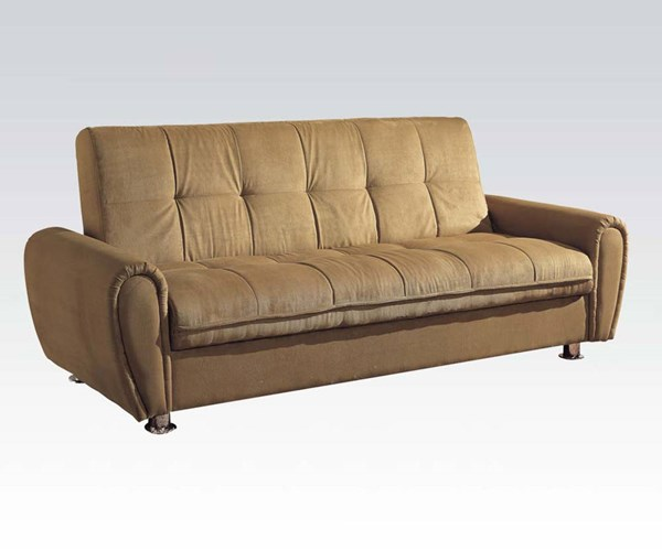 Taylor Khaki Fabric Wood Adjustable Sofa W/Storage ACM-05637
