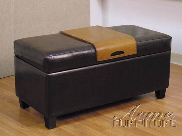 Mavis Black Faux Leather Storage Armless & Backless Bench ACM-05639