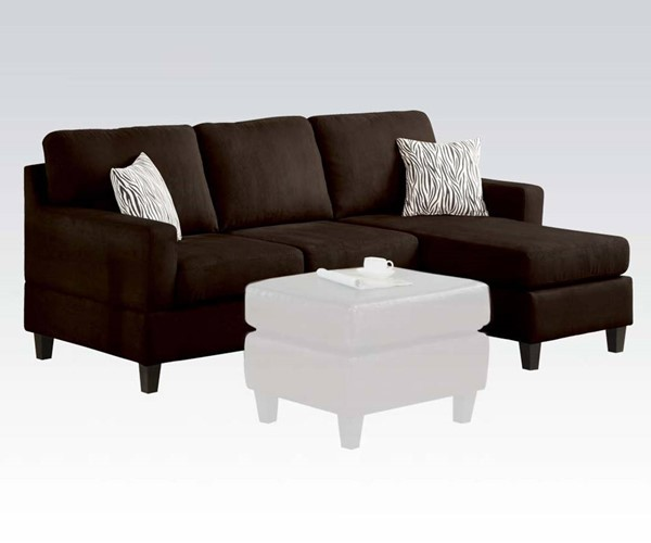 Vogue Casual Chocolate Fabric Wood Reversible Chaise Sectional ACM-05907