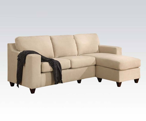 Vogue Beige Fabric Wood Reversible Chaise Sectional ACM-05913