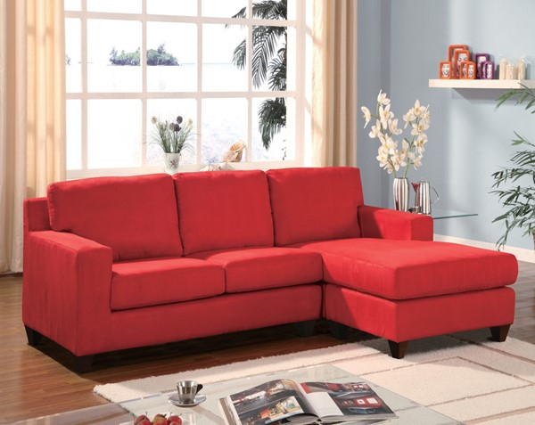 Acme Furniture Vogue Red Reversible Chaise Sectional The
