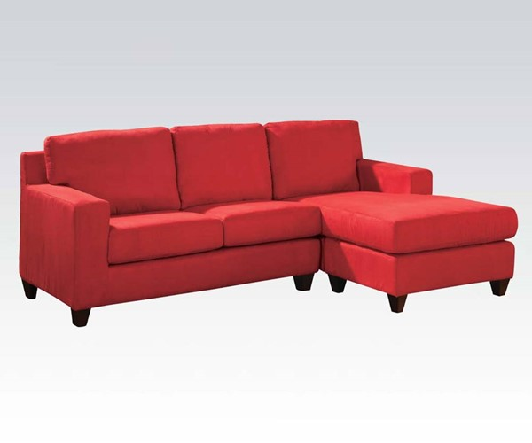 Vogue Red Fabric Wood Reversible Chaise Sectional ACM-05917