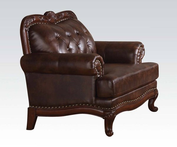 Birmingham Upholstery Dark Brown Grain Leather Wood Chair ACM-05947