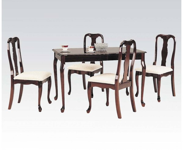 Queen Anne Casual Cherry Wood Rectangular 5pc Pack Dining Set ACM-06004
