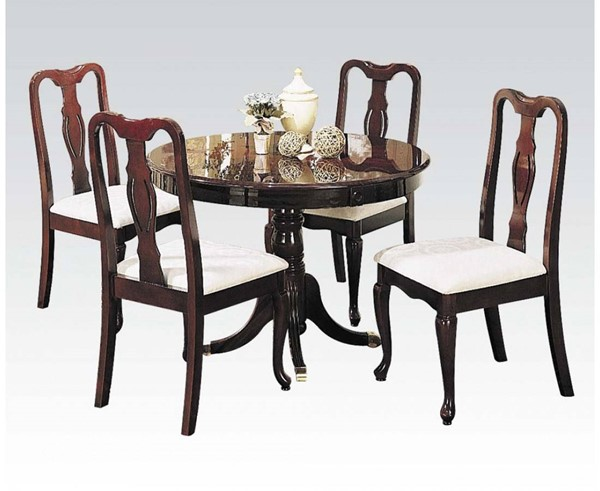 Queen Anne Casual Cherry Wood 5pc Pack Dining Set ACM-06005