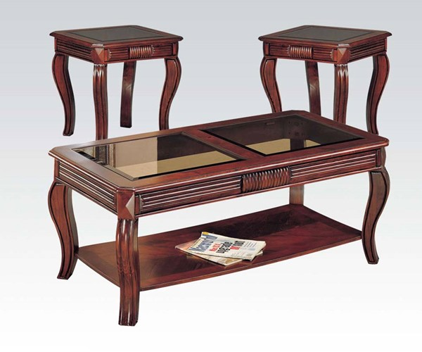 Overture Cherry Wood 3pc Coffee/End Table Set ACM-06152