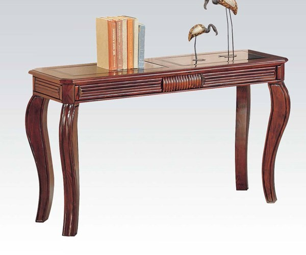 Overture Cherry Wood Glass Sofa Table W/Queen Anne Legs ACM-06153
