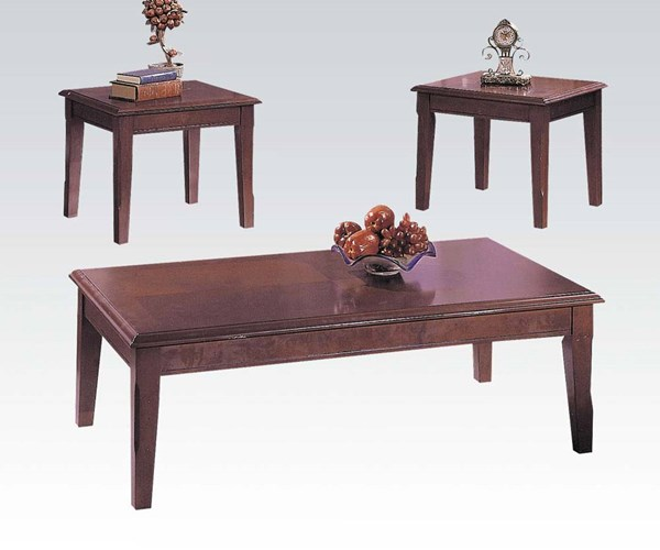 Chester Merlot Wood 3pc Coffee/End Table Set ACM-06159