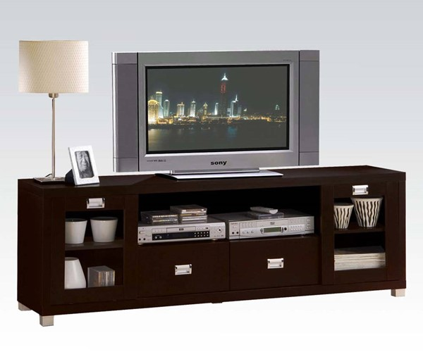 Commerce Espresso Wood Glass Doors TV Stand ACM-06365