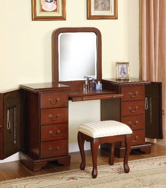 Louis Philippe Brown Wood Glass Vanity & Stool Set W/Mirror ACM-06565-66-SET