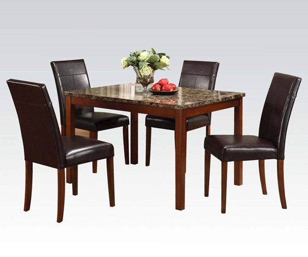 Portland Brown Faux Leather Cheery Wood 5pc Pack Dining Set ACM-06770