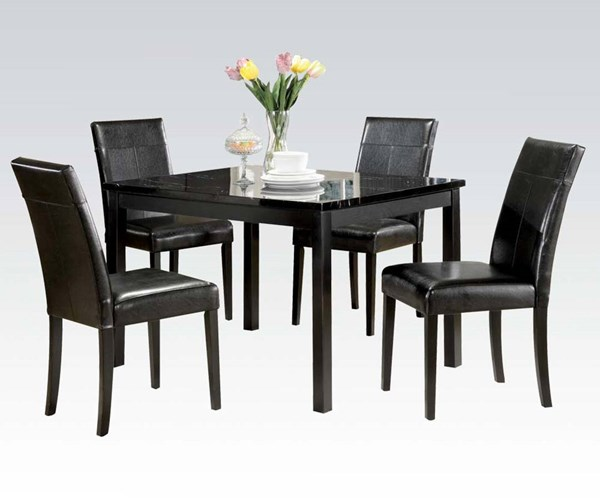 Dining Table Set Deals: Portland Black Wood 5pc Pack Dining Table Set