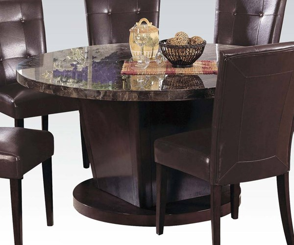 Danville Transitional Black Walnut Marble Wood Round Dining Table ACM-07003
