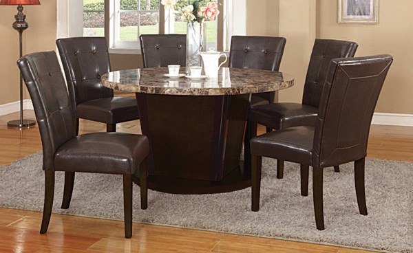 Granada Casual Brown Walnut Marble Wood Solid Back Dining Room Set ACM-07005-DR