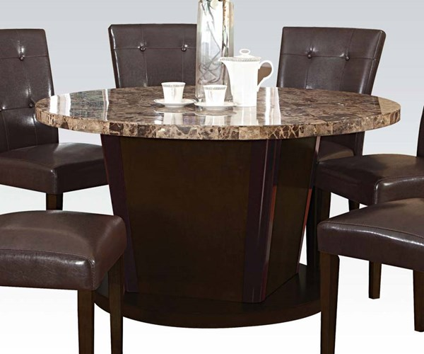 Granada Casual Brown Walnut Marble Wood Round Dining Table ACM-07005