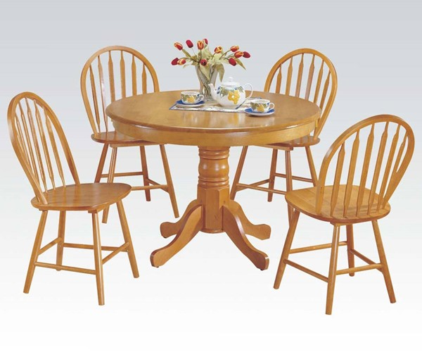 Farmhouse Oak Solid Wood 5pc Pack Round Dining Set ACM-07021