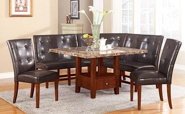 Bologna Transitional Brown Espresso PU Wood Marble Dining Room Set ACM-07050-46-DR