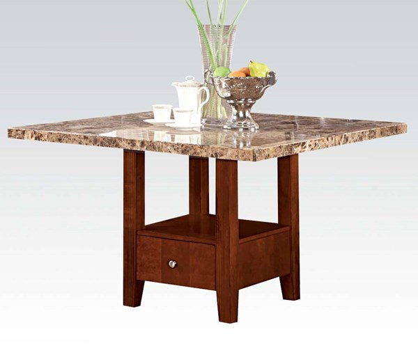 Bologna Transitional Brown Marble Cherry Wood Dining Table ACM-07050