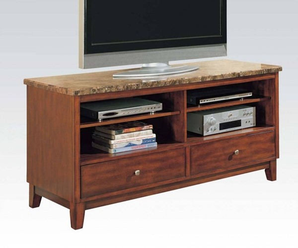 Bologna Cherry Wood Marble Console Table Set W/Drawers & Shelves ACM-07094