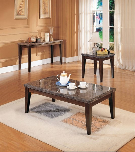 Danville Transitional Black Walnut MDF Wood Marble Coffee Table Set ACM-0714-OCT