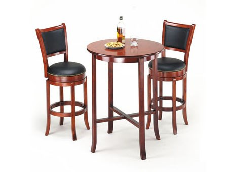 Chelsea Cherry Wood Leather 3pc Counter Height / Bar Set ACM-07195S