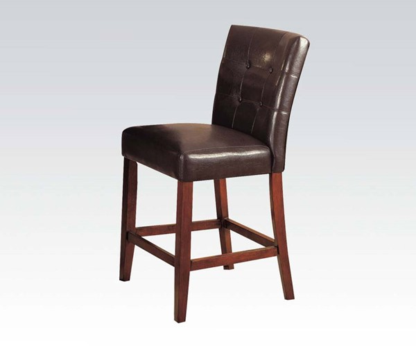 2 Bologna Transitional Brown PU Espresso Wood Counter Height Chairs ACM-07242