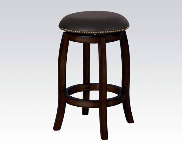 Chelsea Black Leather Espresso Wood Counter Height Stool W/Swivel ACM-07246