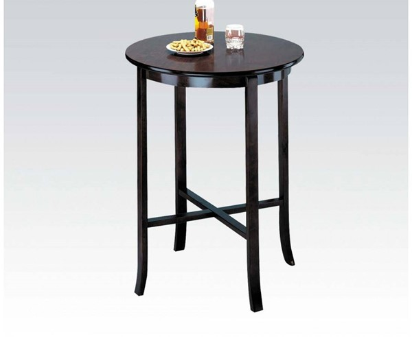 Chelsea Espresso Wood Round Solid Top Bar Table ACM-07255