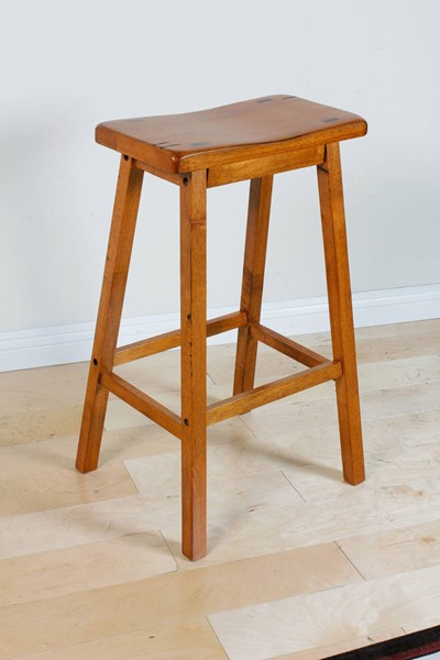2 Gaucho Oak Wooden Seat Bar Stools W/Foot Rest ACM-07307