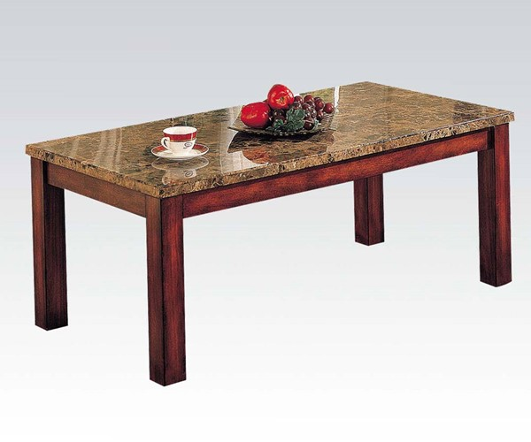Bologna Brown Cherry Marble Wood Coffee Table ACM-07372