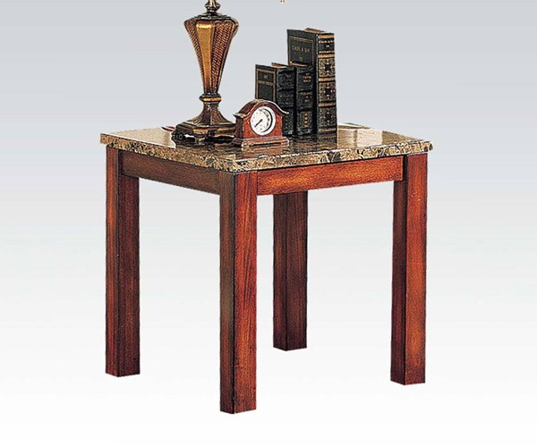 Bologna Brown Marble Cherry Wood End Table ACM-07373B
