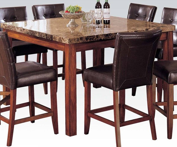 Bologna Brown Cherry Wood Marble Counter Height Table ACM-07380