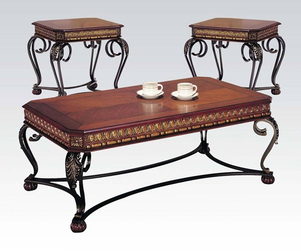 Carmel Cherry Wood Metal 3pc Pack Coffee/End Table Set ACM-07743