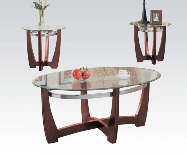 Baldwin Walnut Wood Glass 3pc Coffee/End Table Set ACM-07806