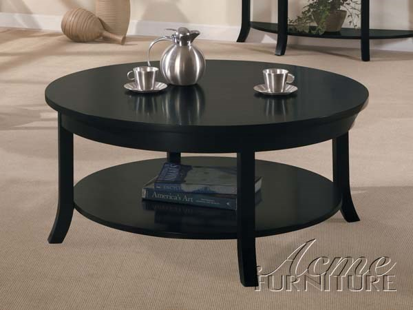 Gardena black wood round coffee table w shelves the for Black circle coffee table